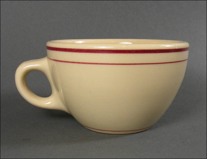 Carr China Glo Tan Diner Dishes With Red Lines Coffee